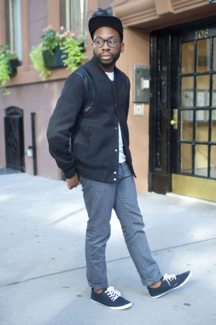 Blogger McArthur Joseph of Daily Mister turns to trusty New York neutrals.  H&M black baseball