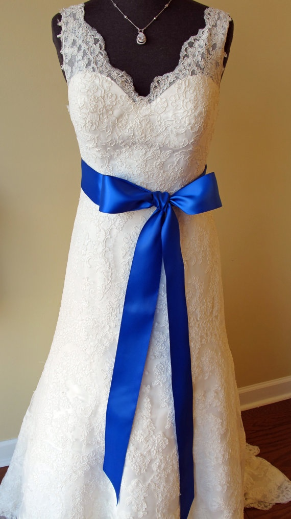 Royal blue dress sash 20 blue and green pinterest for White wedding dress with blue accents