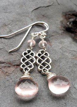 Rose Quartz Earrings Celtic Scroll Sterling Silver Dangle Pink Stone Earrings