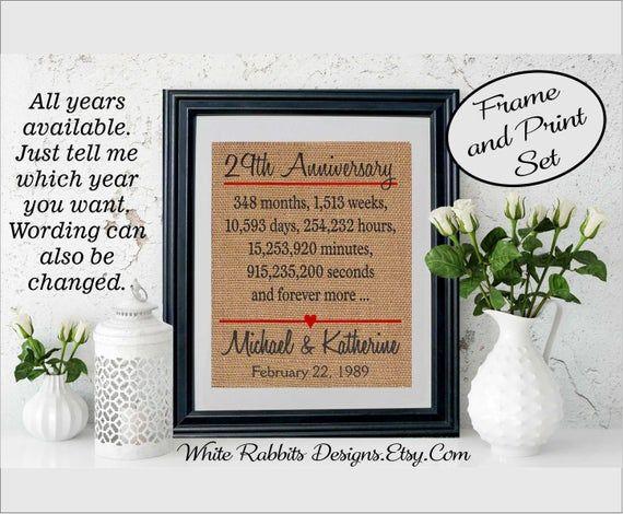 Framed 29th Anniversary Gift 29th Wedding Anniversary Gift