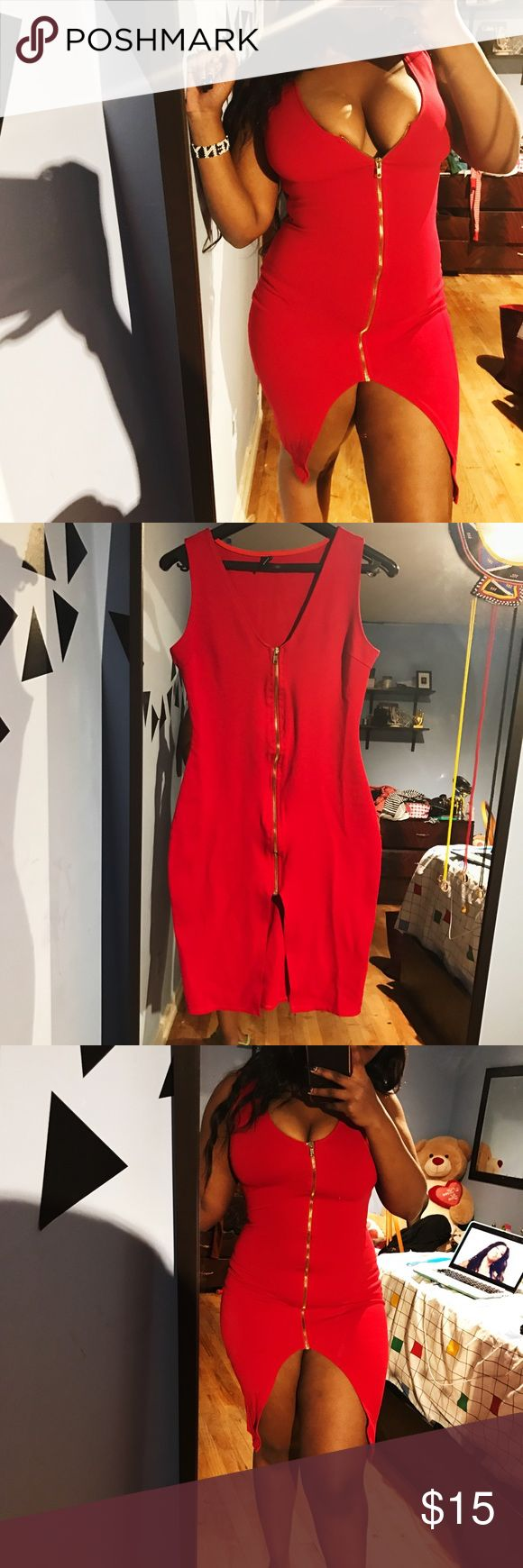Red zip dress Hot red zip up dress I purchased from Windsor, worn once. Very flattering and shows of all your curves & some boobies lol winsdor Dresses Midi