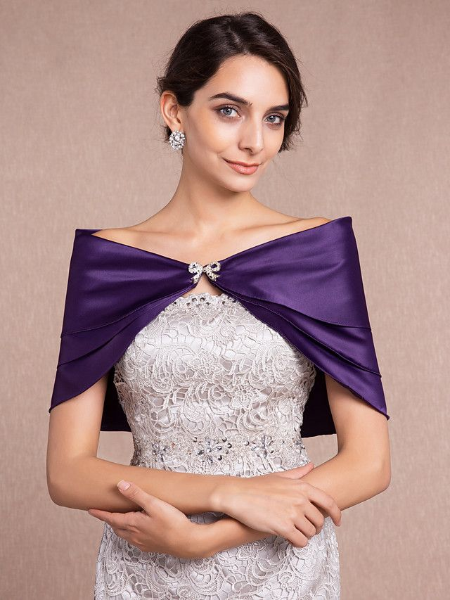 Wedding  Wraps Shrugs Sleeveless Satin Black / Ivory / White / Champagne / Ruby / Regency Wedding Bow / Rhinestone Clasp - USD $11.99