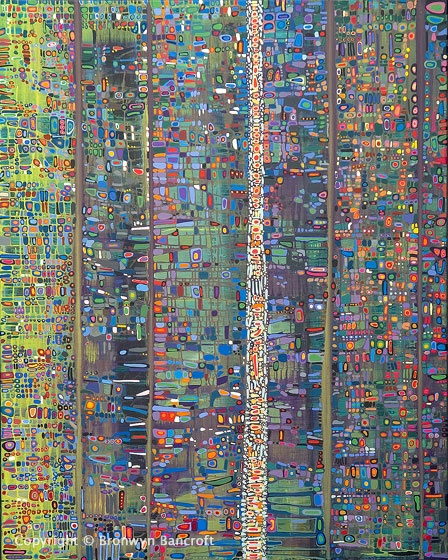 Bronwyn Bancroft | Featured in the December 2011 NAVA Quarterly journal | Image: 'Little Ray Of Sunshine', Acrylic on Canvas  (1500x500mm), Linear Linkages, 2006