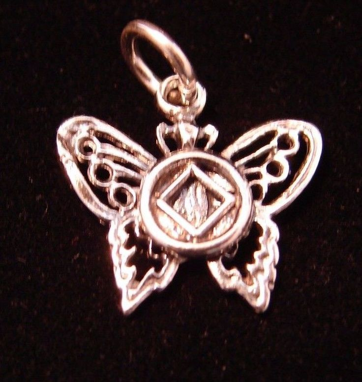 Prata esterlina Narcóticos Anônimos... vai Com Símbolo 5/8 Pol Borboleta Jóias Pingente 979