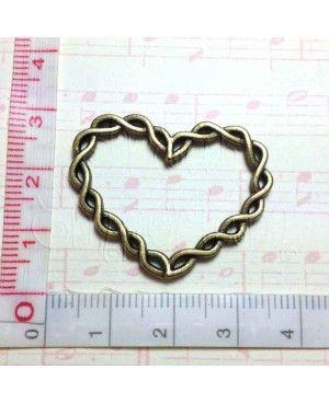 Connettore cuore di corda 27x33mm - 2 pezzi
