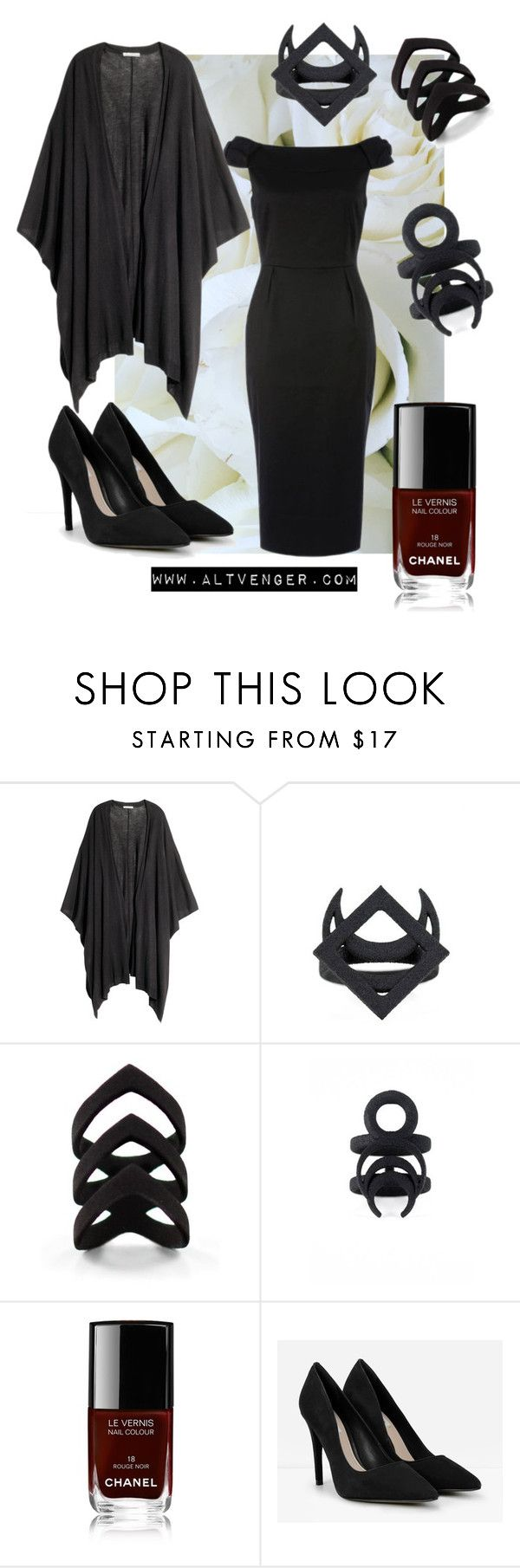 """Corporate Witch"" by venusmantrap ❤ liked on Polyvore featuring H&M, Chanel, CHARLES & KEITH, vintage, goth, gothic, corporate and witch"