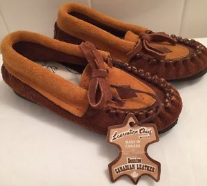 Children's Laurentian Chief Moccasins NWT Size 6 Brown Suede Leather | eBay