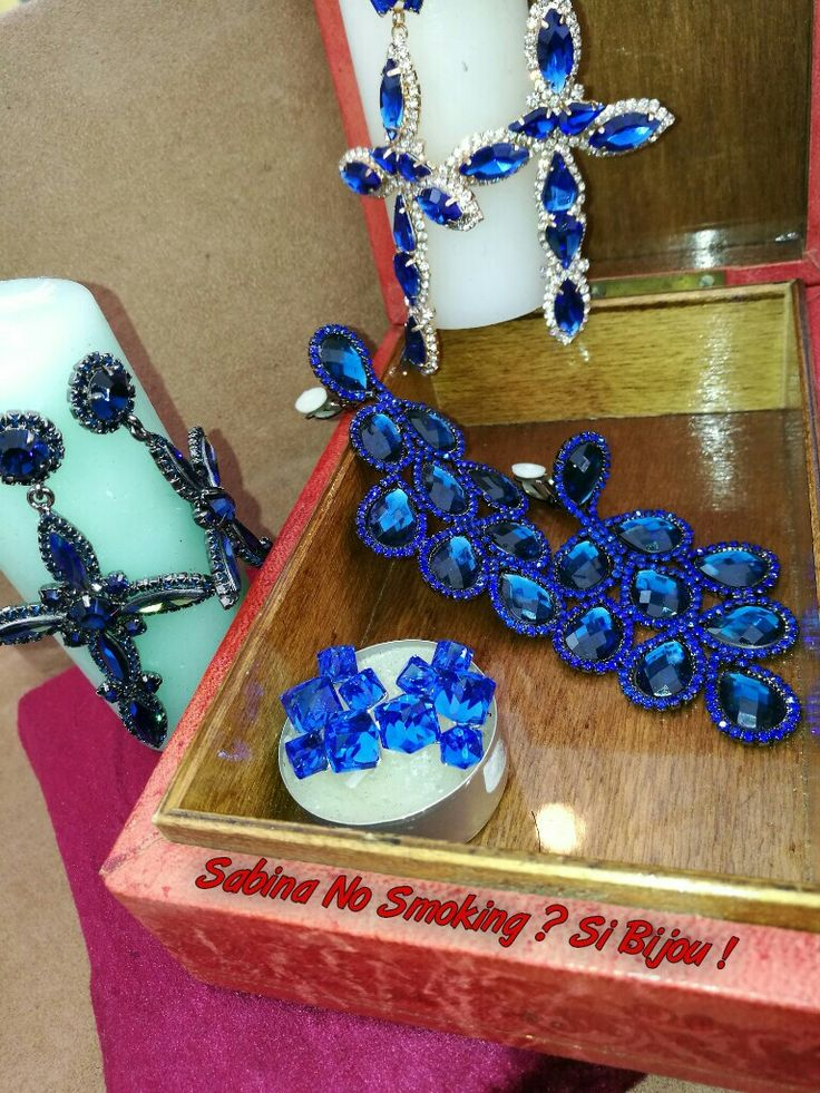Collane orecchini blu strass Vetrina #sabinanosmokingsibijou