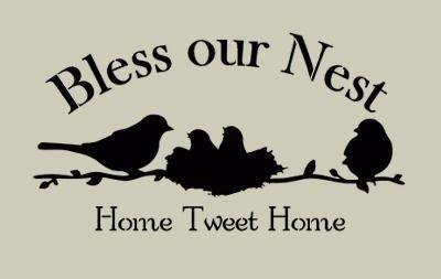 Bless Our Nest With Birds Stencil 10x18 Bird Stencil