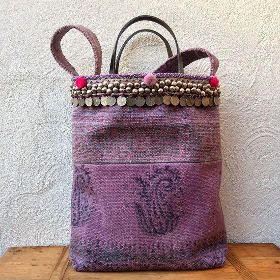 Handmade kelim handbag/shoulderbag with tribal by KussenvanPaula