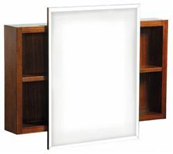 features mirrored cabinet ziga zaga collection zebra veneer finish wall mount includes mounting hardware adjustable side shelves beveled mirror one year