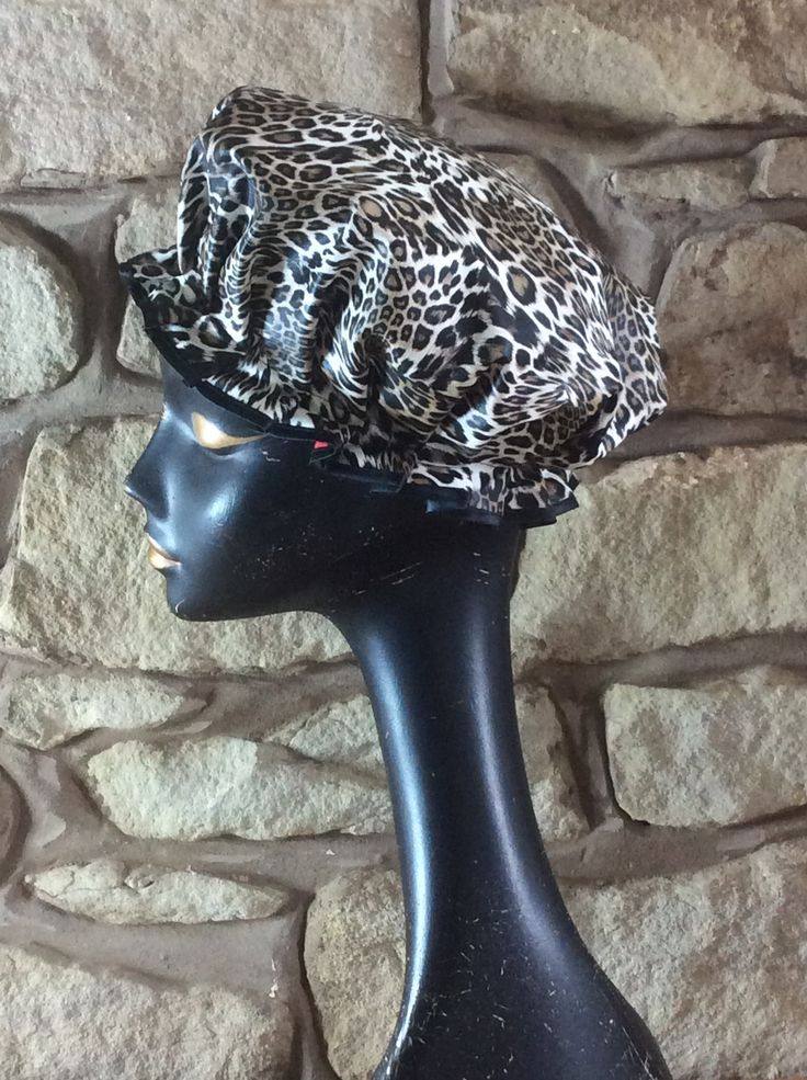Wild Leopard shower cap from Bathing BellesStore on Etsy