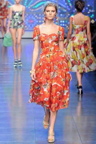 Dolce & Gabbana tangerine floral dress