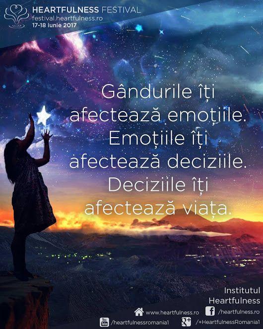 Gândurile îți afectează emoțiile. Emoțiile îți afectează deciziile. Deciziile îți afectează viața. #cunoaste_cu_inima #meditatia_heartfulness #hfnro Heartfulness festival | 17 - 18 iunie 2017 | Timișoara Mai multe detalii: http://festival.heartfulness.ro Meditatia Heartfulness Romania