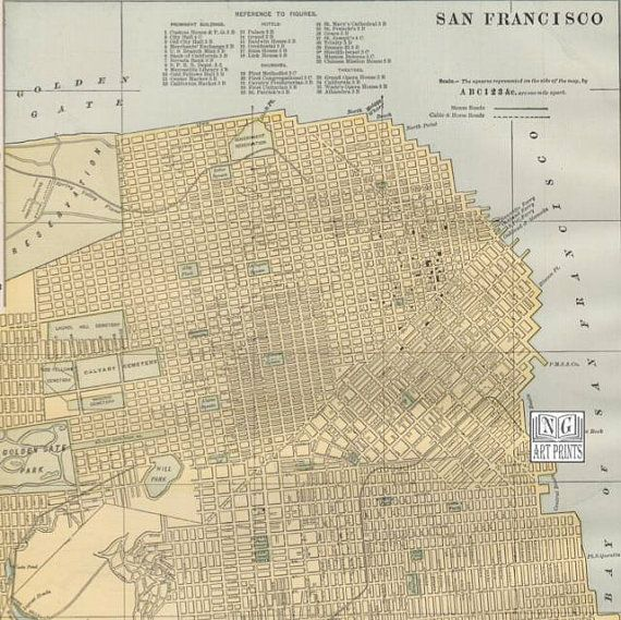20 best Maps images on Pinterest   Cartography  Maps and Urban planning 1800s Street Map of San Francisco  Antique California City Map by  NGArtPrints http
