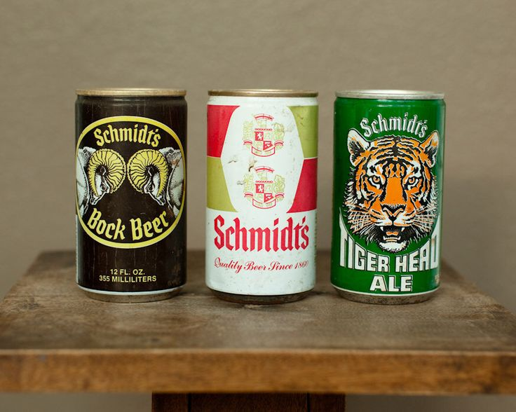 A personal favorite from my Etsy shop https://www.etsy.com/listing/248146268/vintage-schmidts-beer-cans-3-cans