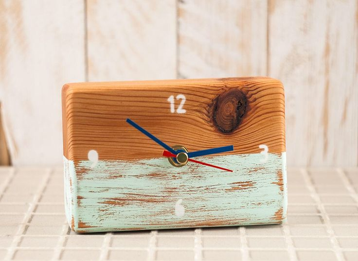 Shabby Chic wood clock - Small wooden desk clock - Hand painted mint clock, Gift for birthday, Reclaimed wood clock, Unique Clock Home Decor by StudioKowal on Etsy https://www.etsy.com/listing/518639857/shabby-chic-wood-clock-small-wooden-desk