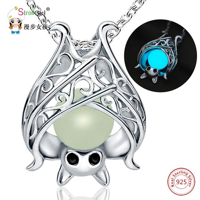 Good Deal $11.91, Buy 2018 New Arrival 925 Sterling Silver Glowing Bat Pendants & Necklaces for Women Hollow Luminous Stone Chain Fashion Jewelry Gift
