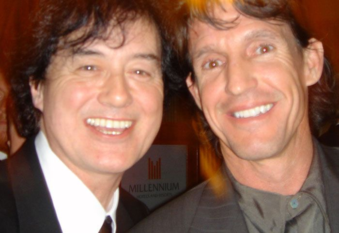 Michael Dunn, owner of Rock Star gallery with Led Zeppelin guitar legend, Jimmy Page Jimmy page was honored and received a Life Time Achievement Award