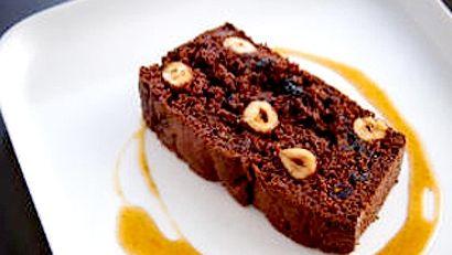 Cake au chocolat, aux canneberges et aux noisettes, caramel au whisky single malt