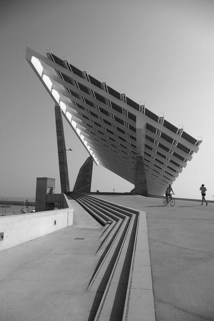 Esplanade Solar Panels by José Antonio Martínez Lapeña Elías Torres Architects, Barcelona waterfront