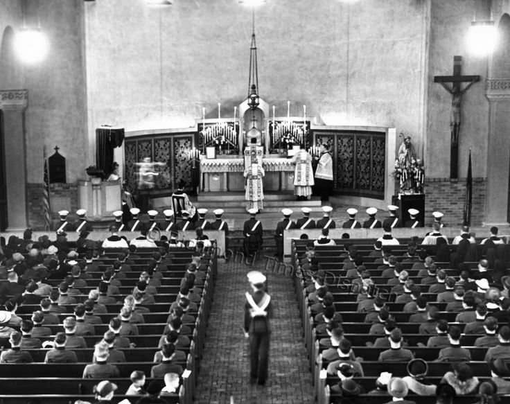 In March 1938, a military high Mass was celebrated at St. Benedict's Catholic Church in Richmond, with Benedictine High School cadets acting as a military escort. The special ceremony, which commemorated the Feast Day of St. Benedict, had been conducted only a few times in Richmond. Notice how the cadets even sit in straight rows.