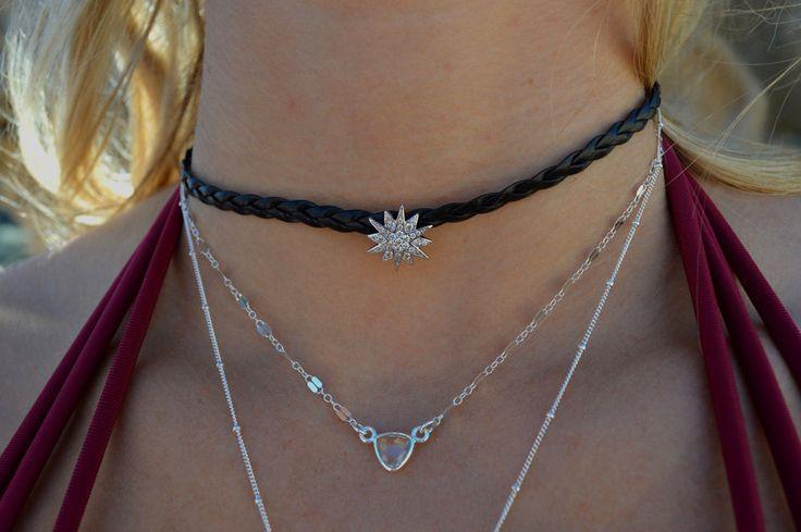 Silver star choker, Starburst choker, by bohodivine on Etsy
