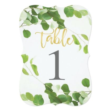 Elegant Greenery and Gold Script Table Number - gold wedding gifts customize marriage diy unique golden