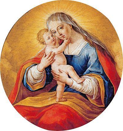 Leopold Layer: Marija Pomagaj, ena od Layerjevih slik Device Marije z Jezuščkom, olje na platnu z začetka 19. stoletja