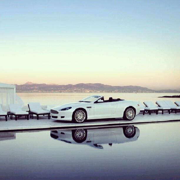 Sweet White Aston Martin! taking a break!