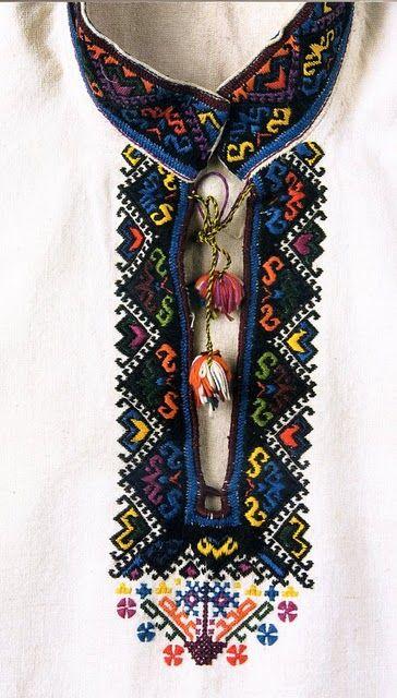 Neck of Ukranian men's shirt.