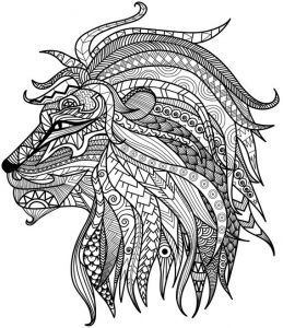detailed lion coloring page - Art Therapy Coloring Pages Animals