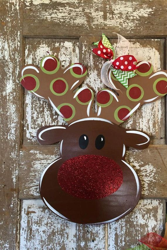 How adorable is this red nose reindeer? This 27x25 reindeer is made using 1/4 wood, sanded, finished, and hand painted. UV protected for
