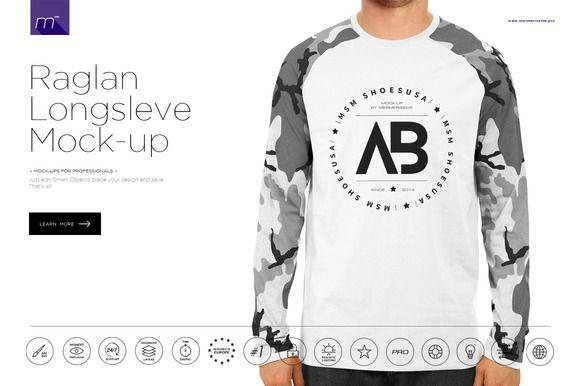 Download Raglan Longsleeve Mock Up By Mesmeriseme Pro On Creativework247 Shirt Mockup Clothing Mockup Creative T Shirt Design