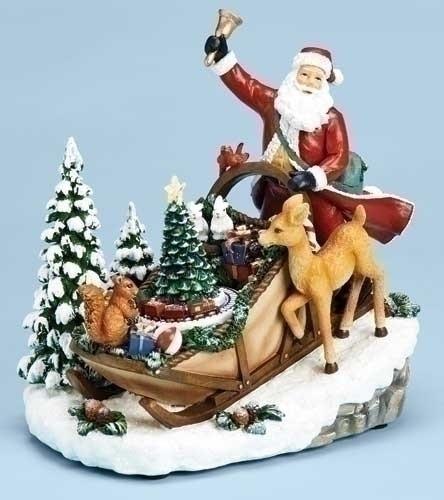 Roman 32301 Santa in Sleigh Ringing Bell Light Up Christmas Figurine with Rotating Christmas Tree - Plays Xmas Songs