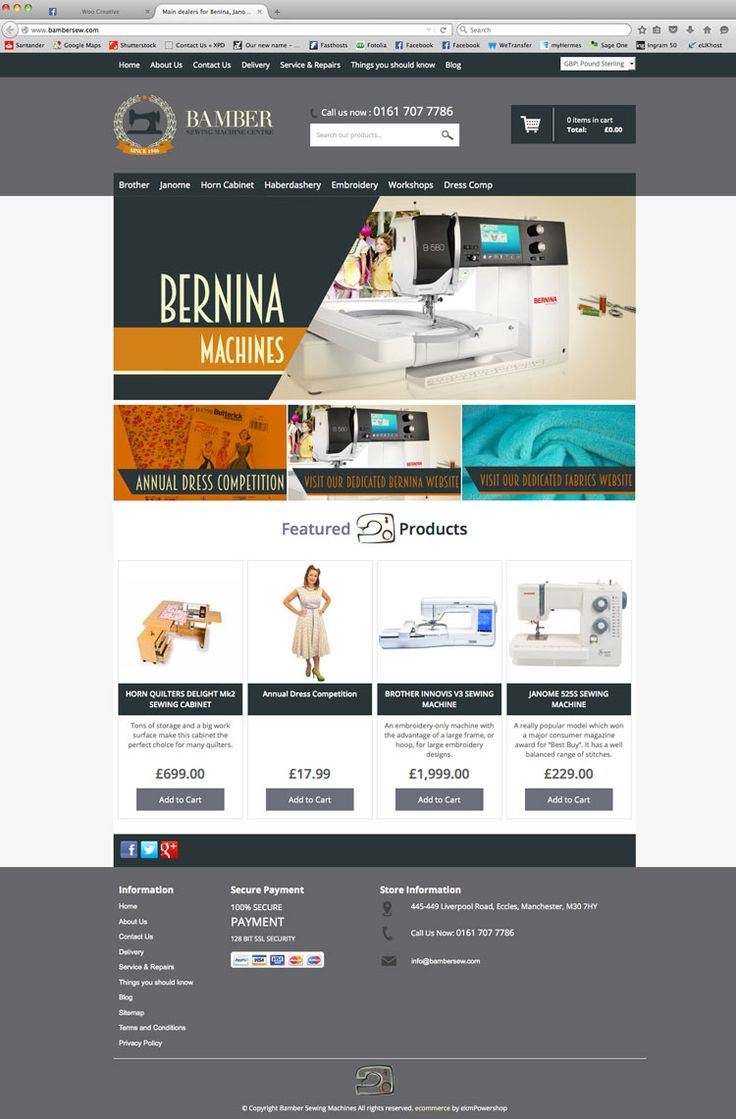 Ecommerce website for Bamber Sewing Machines