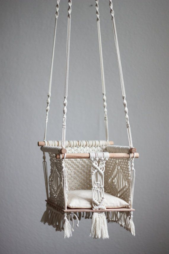 25 best baby swings ideas on pinterest burlap baby diy for Diy macrame baby swing