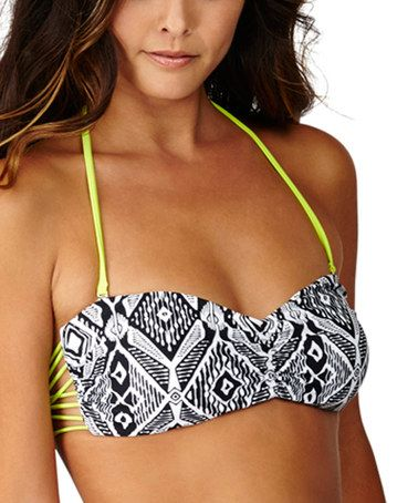 Loving this Black Geo Beat Cali Lux Bandeau Bikini Top on #zulily! #zulilyfinds