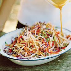 Jicama Slaw XI Recipe Salads, Side Dishes with carrots, jicama, red bell pepper, red cabbage, purple onion, olive oil, rice vinegar, fresh lime juice, coriander leaf, salt, ground black pepper, sugar, chili powder, crushed red pepper flakes
