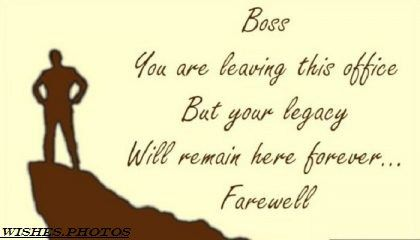 Wishes for farewell to boss