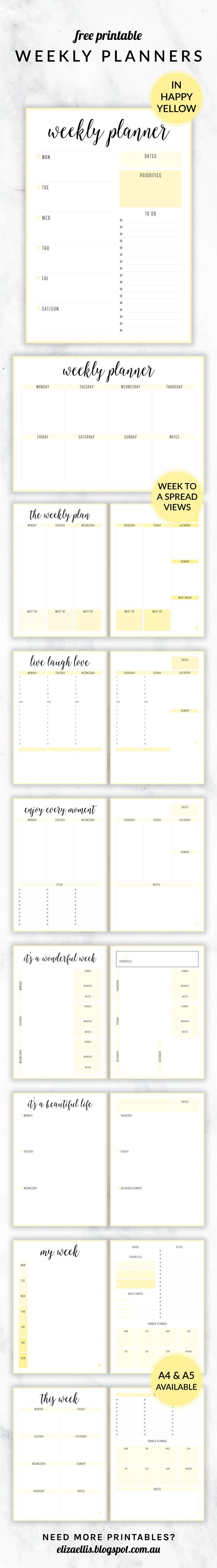 Free Printable Irma Weekly Planners in Happy by Eliza Ellis. With nine different styles, they're the perfect organizing solution for mums, entrepreneurs, bloggers, etsy sellers, professionals, WAHM's, SAHM's, students and moms. Available in 6 colors and both A4 and A5 sizes. Includes week to a page planners as well as week to a spread and two page planners. Enjoy!