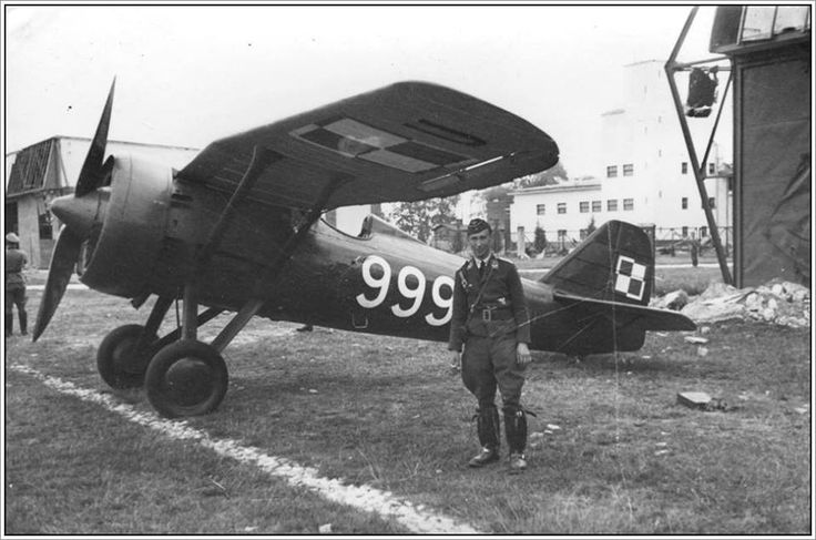Luftwaffe pilot in front of captured PZL P. 7a fighter - Poland September 1939.