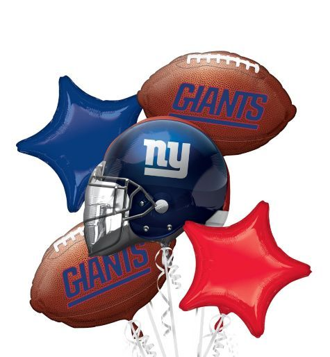 New York Giants Balloon Bouquet 5pc - Party City