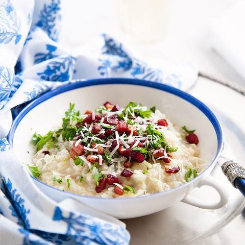 Sandras risotto med fänkål och stekt sidfläsk