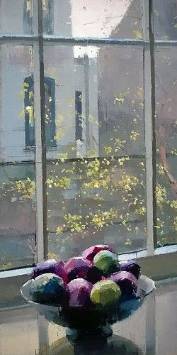 Lisa Breslow, Window Meditation 2014, Oil and pencil on panel