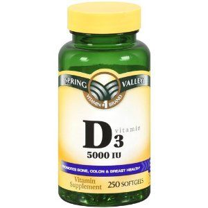 Spring Valley - Vitamin D-3 5000 IU, 250 Softgels by Spring Valley. $15.53. Promotes Bone, Colon and Breast Health.. 250 Softgels.. Vitamin D-3 5,000 IU.. Vitamin D is essential to Calcium absorption, and is involved in proper bone mineralization. In addition Vitamin D plays a role in the maintenance of Calcium and Phosphorous levels in the blood, and helps to promote immune system health. spring valley vitamins