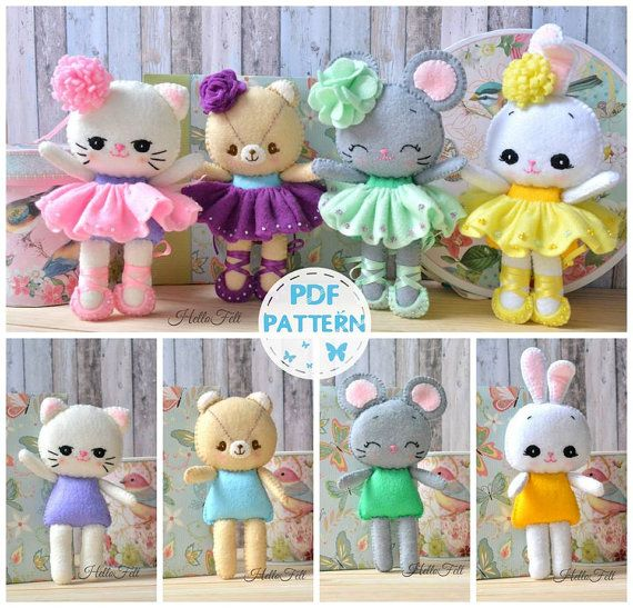 Set of 4. Felt Cat Ballerina & friends. PDF pattern by HelloFelt