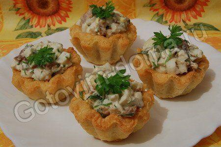 Корзиночки с грибным салатом