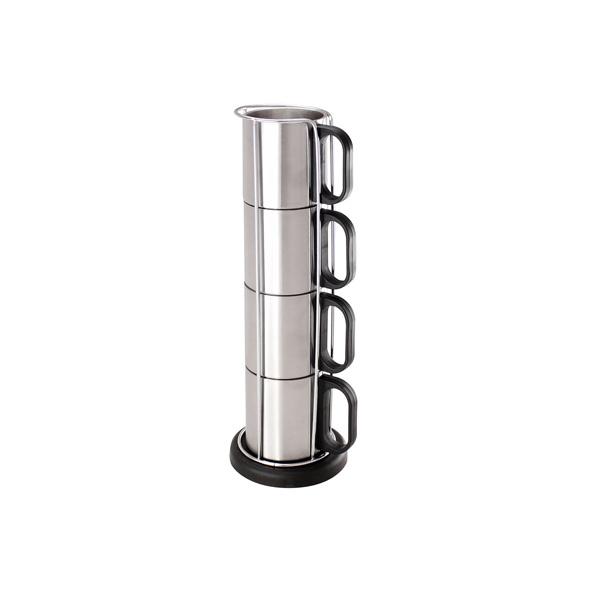 COD.TT026  Set Torre Metálica con 4 tazones de Acero Inoxidable, con base plástica redonda negra. Presentación en caja de cartón blanco. Capacidad cada Tazón: 175 CC.