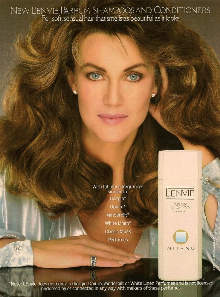 1986 Agree Shampoo L'Envie Milano big hair blue-eyes woman photo VINTAGE AD #AgreeShampoo